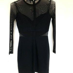 ASTR Size S Black Mesh Cut Out Bodycon Dress